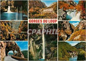 Moderne Karte Cote d'Azur French Riviera Les Gorges du Loup Cirquit pittoresque de l'arriere pays