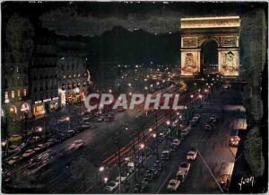 Moderne Karte Paris la nuit Les Champs Elysees et l'Arc Triomphe