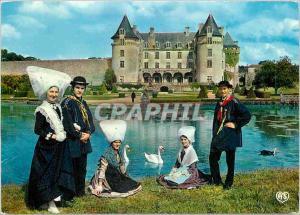 Moderne Karte Les Bategails de Saintonge Saint Romain de Benet Scene champetre au pied du chateau de la Rochec