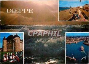 Moderne Karte Dieppe (S M) La Plage Le vieux chateau Entree d'un courrier dans le port Bateau