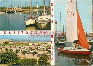 Moderne Karte Ouistreham Riva Bella (Calvados) le bassin des Yachts l'arrivee a la plage et le Casino le port