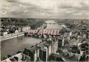 Moderne Karte Angers Maine et Loire Vue generale sur la Moine les ponts de Verdun et de la Haute Chaine St Rap