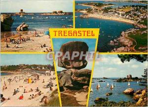 Moderne Karte Tregastel Les plages du Coz Pors et de la Greve Blanche
