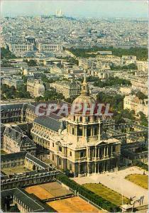 Moderne Karte Paris Vue aerienne Les Invalides Place de la Concorde Basilique du Sacre Coeur