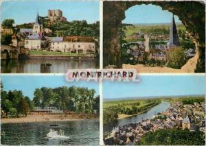 Moderne Karte Montrichard LC Vue sur l'Eglise et le Donjon Vue generale prise du Chateau La Plage vue generale