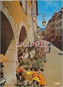 Moderne Karte Annecy Haute Savoie Ville fleurie Zone pietonne dans la rue du Paquier