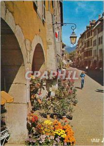 Moderne Karte Annecy Haute Savoie Ville fleurie Zone pietonne fans la rue du Paquier
