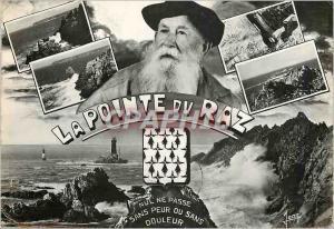 Moderne Karte La Pointe du Raz Finistere En hout Vieux morin pecheur Le Moine couche Le menhir de la pointe