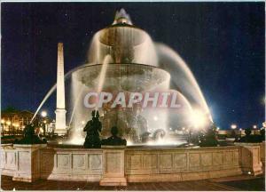 Moderne Karte Paris Les Fontaines de la Concorde la nuit