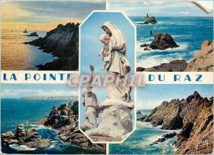 Moderne Karte La Pointe du Raz Sud Finistere Coucher de soleil L'Extreme Pointe Le Moine Couche