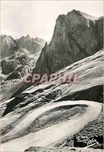 Moderne Karte Les Pyrenees La Route du Col du Tourmalet versant Bagneres de Bigorre Au fond le pic d'Espade