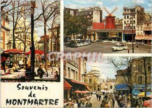 Moderne Karte Paris Montmartre La Place du Tertre et le Moulin Rouge
