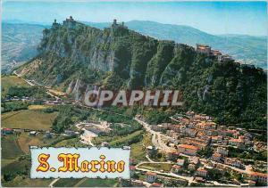 Moderne Karte Rep di San Marino vue aerienne du Mont Titano