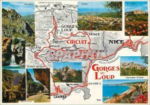 Moderne Karte Cote d'Azur French Riviera Excursion des Cerges du Coup Courdon