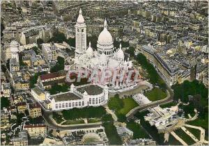 Moderne Karte Paris vue aerienne Basilique du sacre coeur de Montmartre palce du Tertre