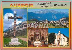 Moderne Karte En Maurienne Aussois Savoie (alt 1489 m) vue generale Eglise style baroque
