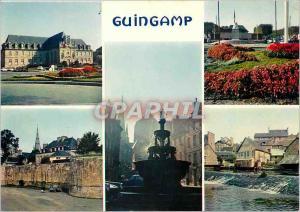 Moderne Karte Guingamp (C du N) la caserne la ville la fontaine et la cathedrale les bords du Trieux