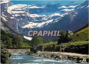 Moderne Karte Les Pyrenees Gavarnie Htes Pyrenees Le Cirque la Cascade et le Gave vus du Village