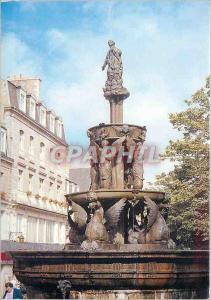 Moderne Karte Guingamp (Cotes d'Armor) la fontaine place du centre