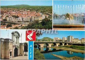 Moderne Karte Ales (Gard) Vue generale de la ville la Fontaine de la Place Gabriel Peri L'entree des arenes le