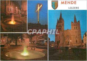 Moderne Karte La Lozere Touristique Mende la nuit alt 730 m Fontaines la croix du Mont Minat La Cathedrale