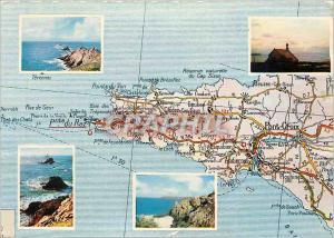 Moderne Karte La Pointe du Raz Vue generale l'extreme pointe la pointe du van le rocher du Moine devant la bai