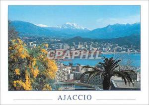 Moderne Karte La Corse Ile de Beaute Ajaccio Vue sur la Ville nouvelle Au loin le Monte d'Oro