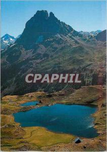 Moderne Karte Pic du Midi d'Ossau Le Pic Le Lac et Refuge d'Ayous vus du Col d'Ayous