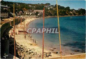 Moderne Karte Douarnenez Trebol Finistere La plage des Sables blancs a maree haute