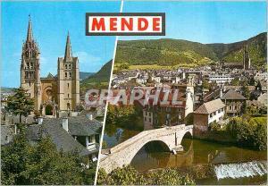 Moderne Karte Mende Lozere La Cathedrale Vue generale et le pont sur le Lot