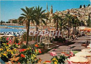 Moderne Karte La Cote d'Azur Menton La Perle de France La Plage et la vieille ville