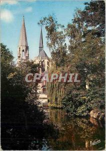 Moderne Karte La Vallee du Lots Vendome (Loir et Cher) Le Loir et perpective sur l'eglise abbatiale de la Trin