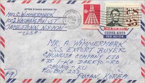 Lettre Cover Etats-Unis 25c 1969 Jamestown to Korea