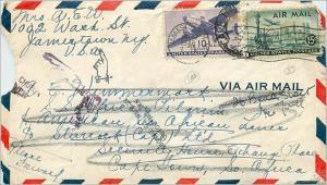 Lettre Cover Etats-Unis Jamestown to South AFrica 1948