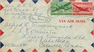 Lettre Cover Etats-Unis Jamestown to India 1947