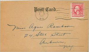 Lettre Cover Etats-Unis 2c 1921 card to Auburn