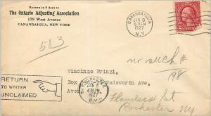 Lettre Cover Etats-Unis 2c Canandaigua Ontario Adjusting Association 1927 cover