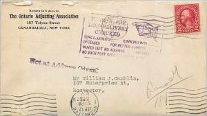 Lettre Cover Etats-Unis 2c Canandaigua Ontario Adjusting Association 1926 cover