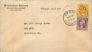 Lettre Cover Etats-Unis 10c + 3c Special delivery New York to Blossburg 1919