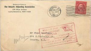 Lettre Cover Etats-Unis 2c Geneva Ontario Adjusting Return to sender 1928 cover