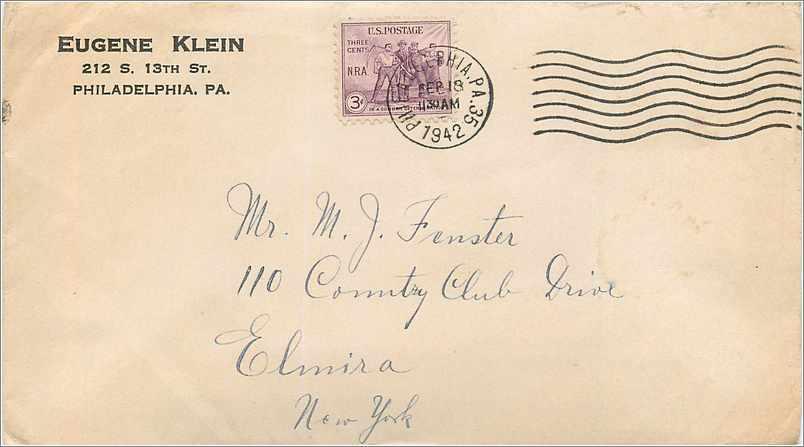 Lettre Cover Etats-Unis 3c NRA 1942 cover Philadelphia to New York 0