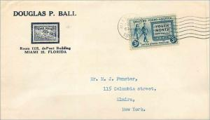 Lettre Cover Etats-Unis 3c Young America Douglas Ball Miami to New York 1952