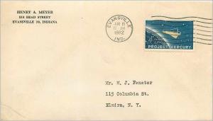 Lettre Cover Etats-Unis 4c Project Mercury 1962 Evansville cover