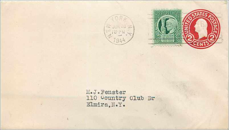 Lettre Cover Etats-Unis stationary 1944 New York cover 0
