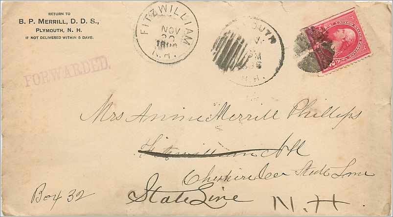 Lettre Cover Etats-Unis 2c Fitzwilliam 1896 0