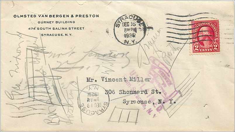 Lettre Cover Etats-Unis 2c Syracuse Return to sender 1925 0