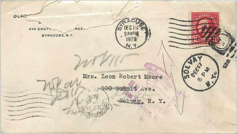 Lettre Cover Etats-Unis 2c Syracuse Return to sender 1925 0