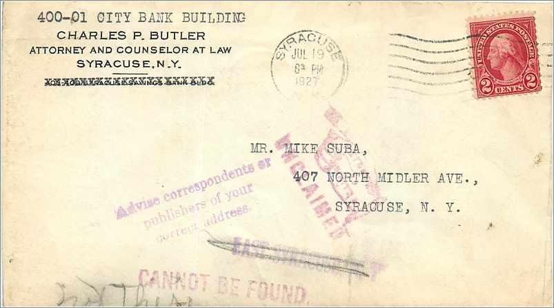 Lettre Cover Etats-Unis 2c Syracuse Return to sender 1927 0