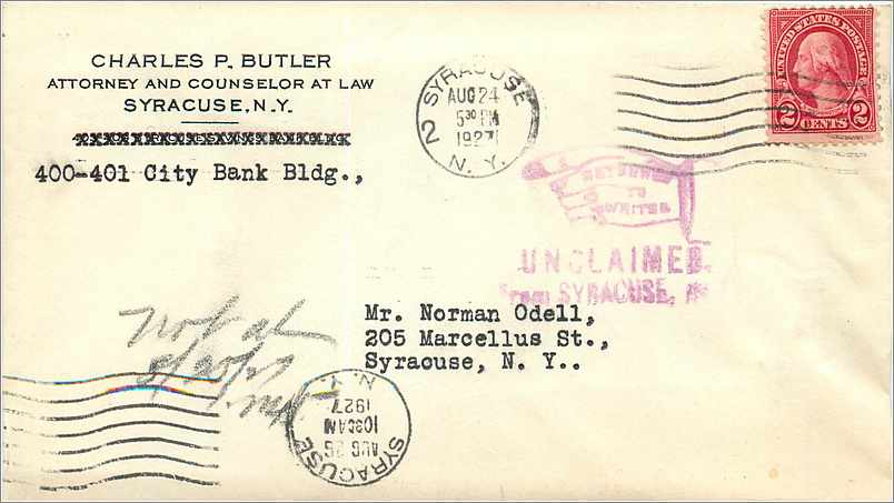 Lettre Cover Etats-Unis 2c Syracuse Return to sender 1927 0