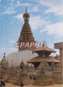 Moderne Karte Swoyambu the biggest Stupa in the world Nepal